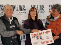 Silver Lakes Golf Estate handed over their proceeds from the Race of Faith 2015 to chosen charity organisation.  Annalie Rautenbach, Silver Oaks Crossing Marketing Manager, Daan du Toit from Run&Walk4Life with Quinette Lombard, Broll Property Manager - Thursday, June 25th, 2015