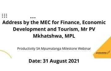 Address by the MEC for Finance, Economic Development and Tourism, Mr PV Mkhatshwa, MPL