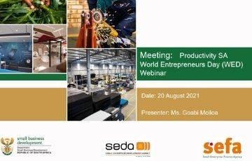DSBD Portfolio Offerings  - Productivity SA  World Entrepreneurs Day (WED) Webinar
