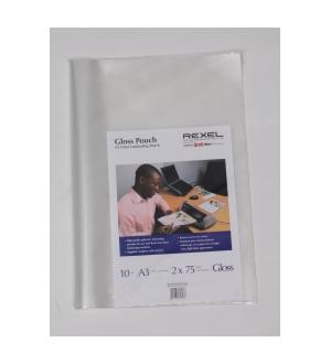 REXEL LAMINATING POUCHES 150 MIC PREMIUM GLOSS A3 (BOX 10)