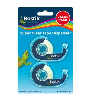 BOSTIK CLEAR TAPE DISPENSER - VALUE PACK (18MMX20M)