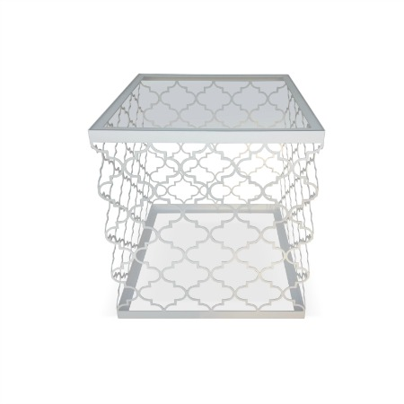 Casablanca Standard Motif Square Side Table With A 6mm Clear Toughened Glass Top