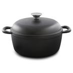 matte black round casserole | 25cm