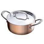 20cm triply copper casserole