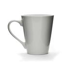 white porcelain conical mug